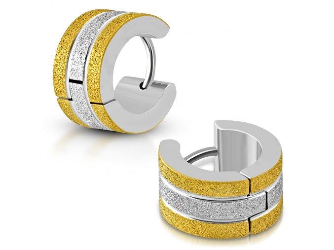 Náušnice pre ženu z ocele, pieskované pásy, zlatá a strieborná farba
