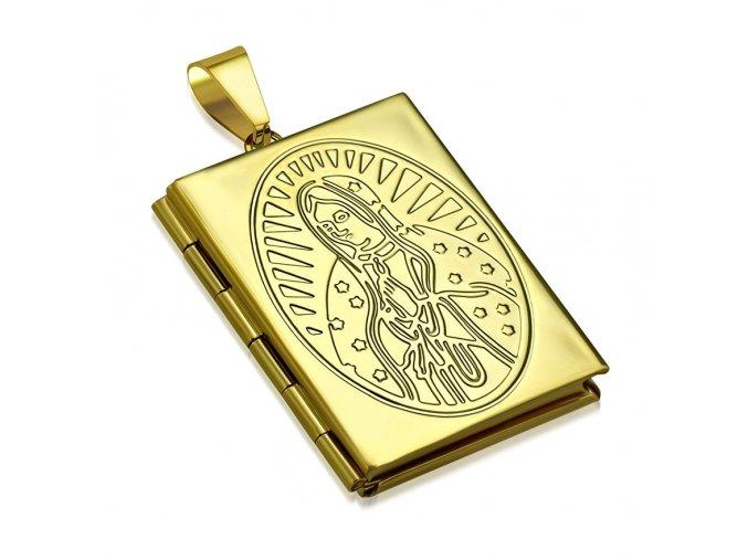 3D medailón na fotky z ocele, gravírovaná Panna Mária, zlatá farba (2)