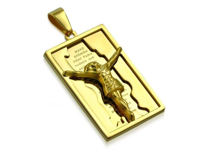 Známka na retiazku z ocele, zlatá farba, Ježiš Kristus, modlitba (1)