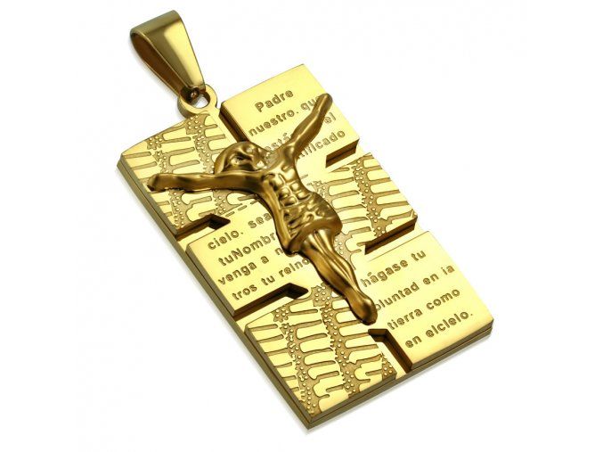 Dvojitá známka na retiazku z ocele, zlatá farba, Ježiš Kristus, modlitba (1)