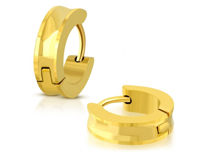 Okrúhle sedlové náušnice z ocele, zlatá farba, hladký povrch