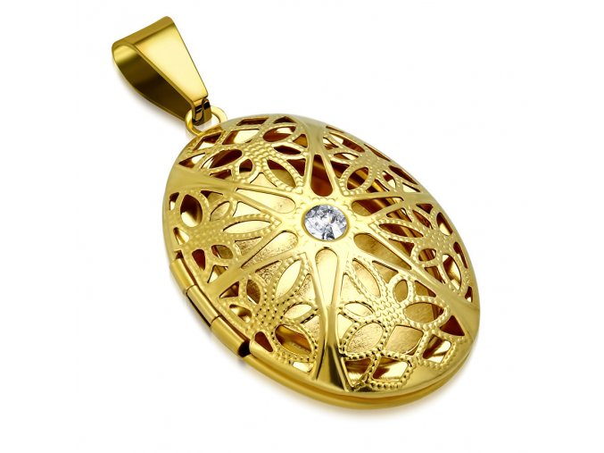 Oválny medailón 3D na fotky z ocele, zlatá farba, číry zirkón (2)