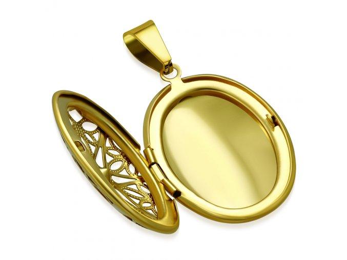 Oválny medailón 3D na fotky z ocele, zlatá farba, číry zirkón (1)