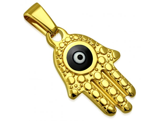 Prívesok z ocele, ruka Fatimy zlatej farby, čierne diabolské oko