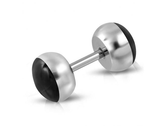 Falošný piercing z ocele, čierna lesklá glazúra, fake plug
