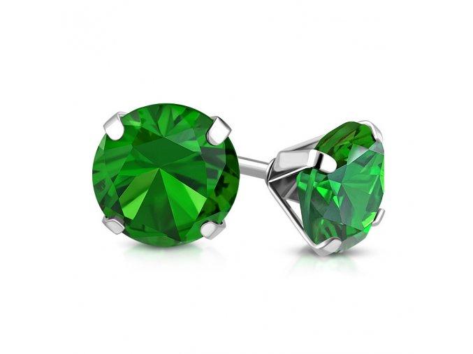Dámske náušnice z ocele, zelený zirkón