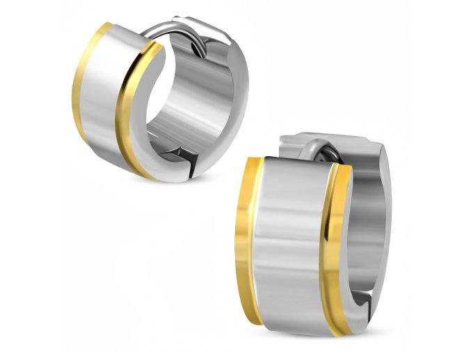Náušnice striebornej farby z chirurgickej ocele, hrany zlatej farby
