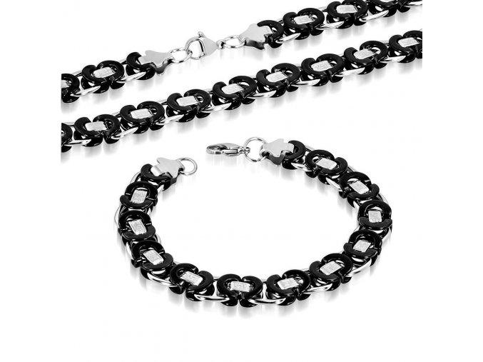 Pánska retiazka a náramok z ocele, kráľovský vzor, čierna a strieborná farba