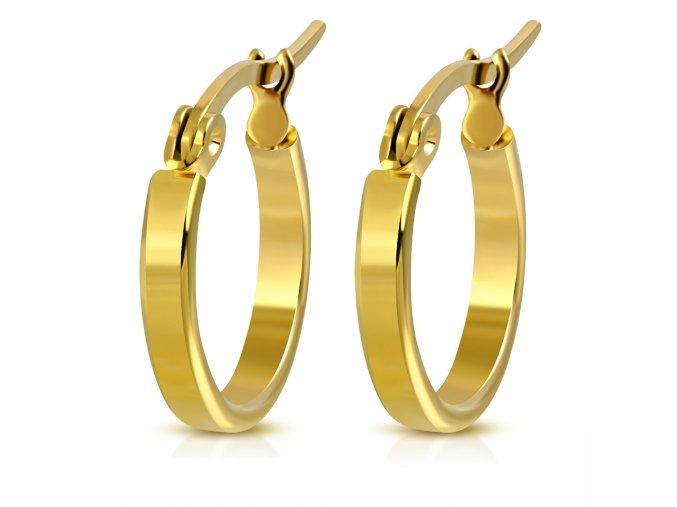 Hladké okrúhle náušnice pre ženu, oceľ zlatej farby 17 mm