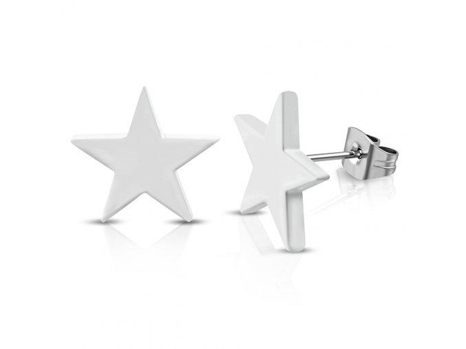 Drobné puzetové náušnice z ocele, lesklá hviezda striebornej farby