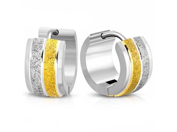 Okrúhle náušnice z ocele, dva pieskované pásy, zlatá a strieborná farba