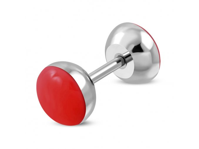 Falošný piercing z ocele, červená lesklá glazúra, fake plug (1)