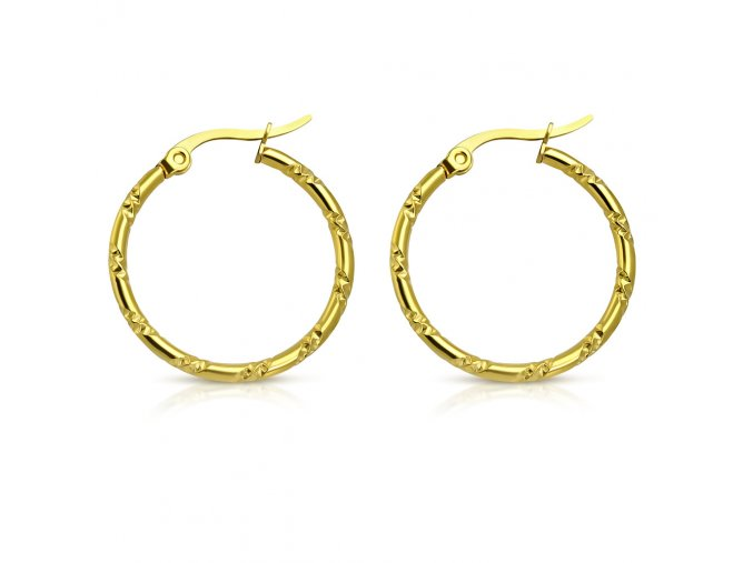 Stočené náušnice kruhy z chirurgickej ocele, zlatá farba 25 mm