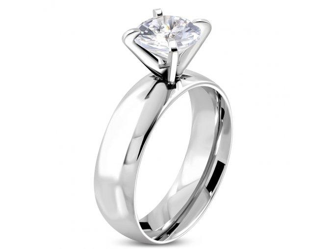 Zásnubný prsteň z ocele striebornej farby, číry kamienok Solitér