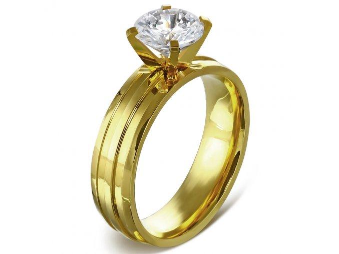 Zásnubný prsteň z ocele zlatej farby, ryhy a číry kamienok Solitér