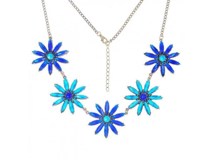 Nárdelník na krk, päť kvetov, modré farby, bižutéria