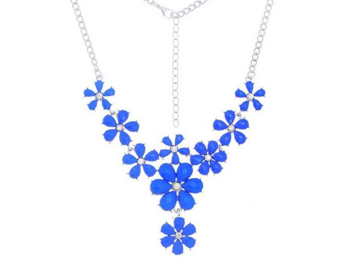 Dámsky náhrdelník z akrylových kamienkov, kvietky, bižutéria