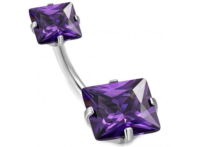 Piercing do pupka z chirurgickej ocele, fialové zirkónové štvorce (1)