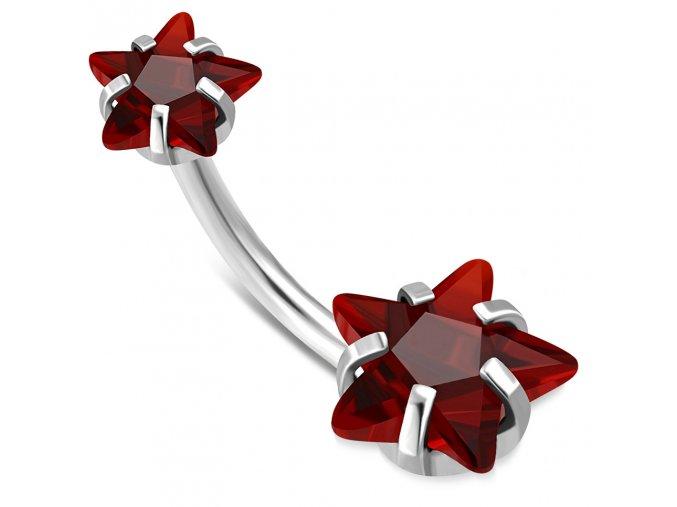 Piercing do pupka z chirurgickej ocele, červené zirkónové hviezdy (1)