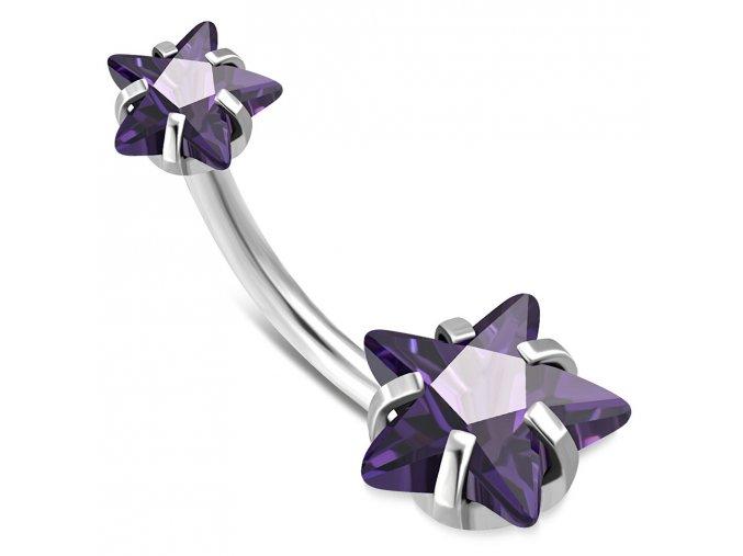 Piercing do pupka z chirurgickej ocele, fialové zirkónové hviezdy (1)