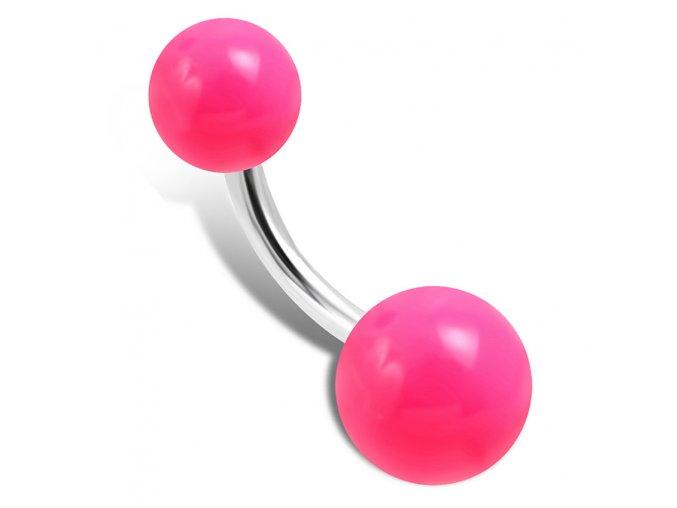 Piercing do pupka z chirurgickej ocele, ružové guličky