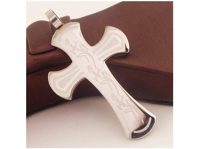 Kríž z chirurgickej ocele, strieborná farba, jašteričky