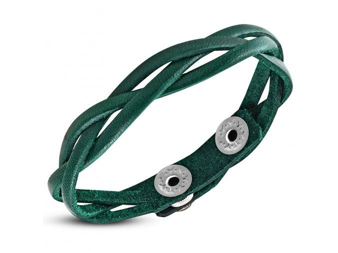 Kožený pletený náramok, vrkoč zelenej farby bižutéria (1)