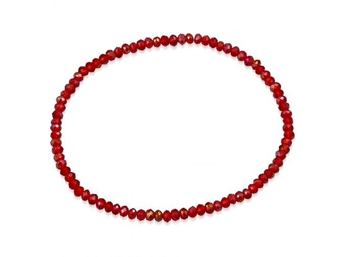 Rozťahovací náramok na ruku z brúsených červených korálikov bižutéria