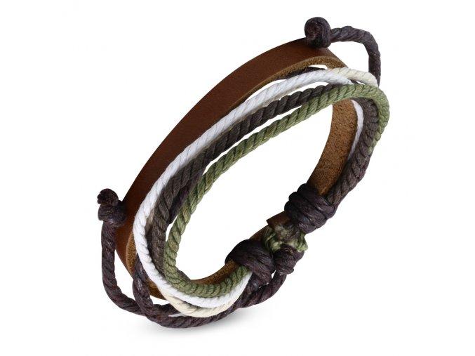 Multi náramok z hnedej umelej kože a šnúrok zelenej, bielej a béžovej farby bižutéria