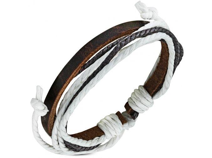 Rozťahovací náramok z kože a šnúrok, čierna, hnedá a biela farba bižutéria