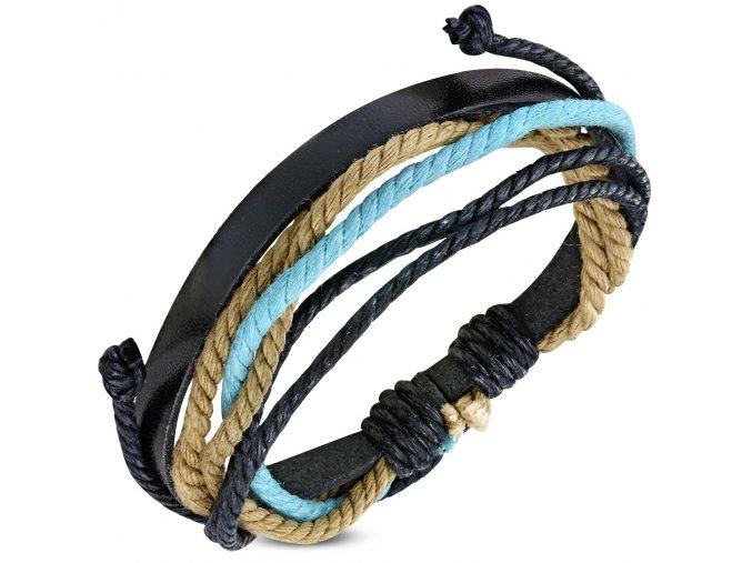 Multi náramok z kože a šnúrok, modrá, hnedá a čierna farba bižutéria