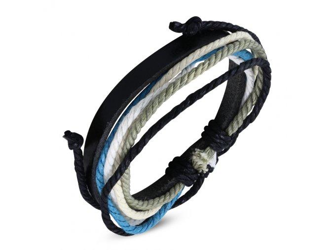 Náramok z čiernej kože a šnúrok, béžová, čierna, biela a modrá farba bižutéria