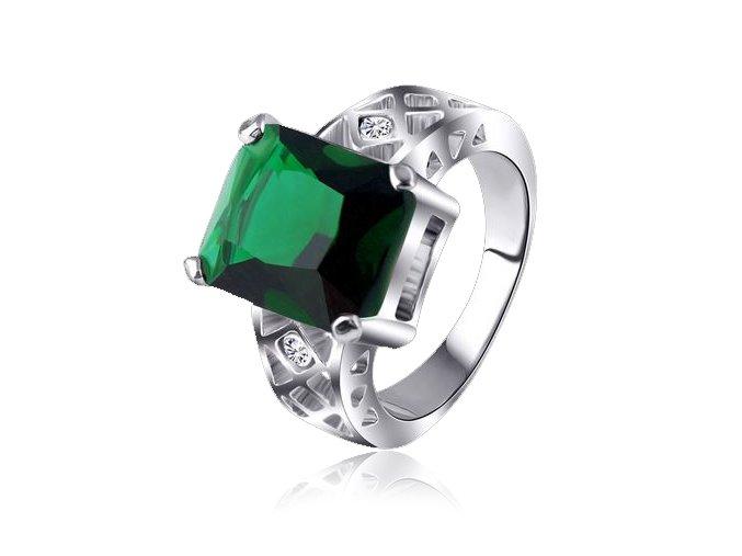 Prsteň so zeleným kamienkom, strieborná farba, bižutéria
