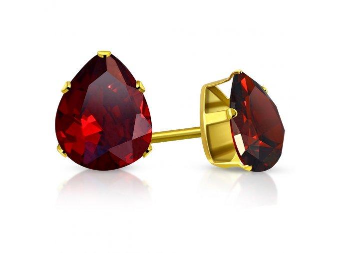 Väčšie dámske náušnice z chirurgickej ocele zlatej farby, červená slza