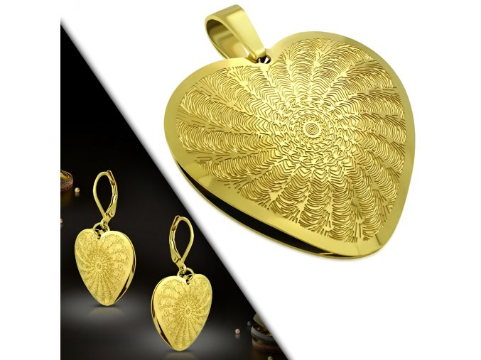 Dámske náušnice a prívesok zlatej farby, 3D srdce z ocele, gravírovanie