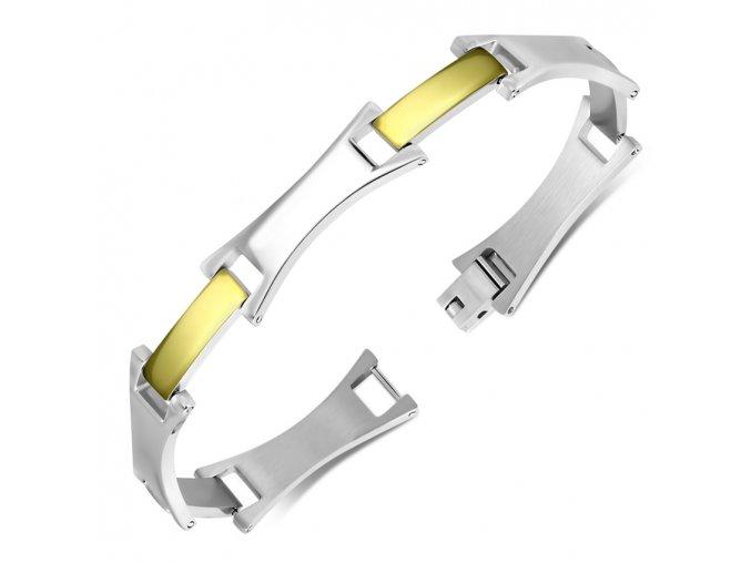 Náramok z ocele, strieborná a zlatá farba, obdĺžnikový článok (1)