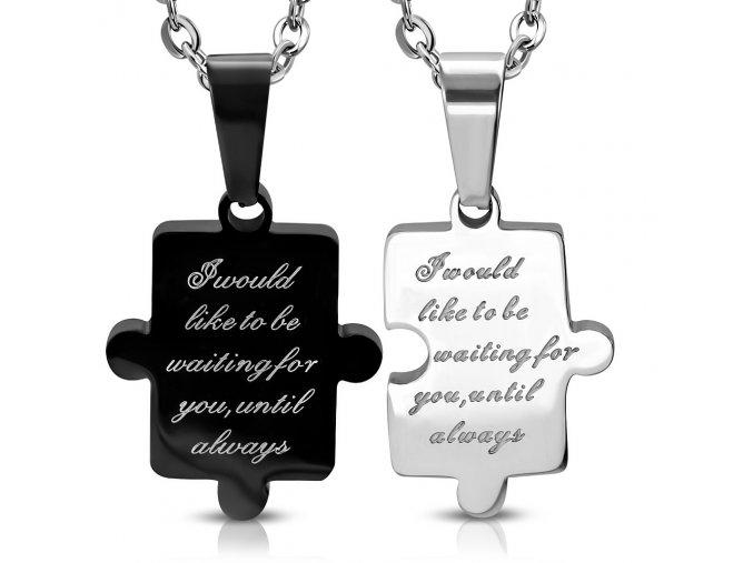Prívesky pre dvoch z ocele, puzzle striebornej a čiernej farby, nápis (1)