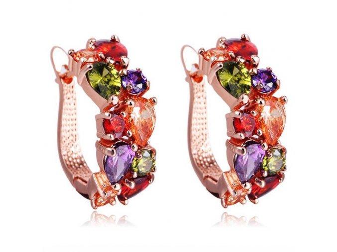 Dámske náušnice so zirkónmi, ružovo zlatá farba bižutéria