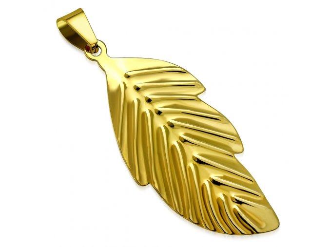 Prívesok na retiazku, väčší list zlatej farby z chirurgickej ocele (1)