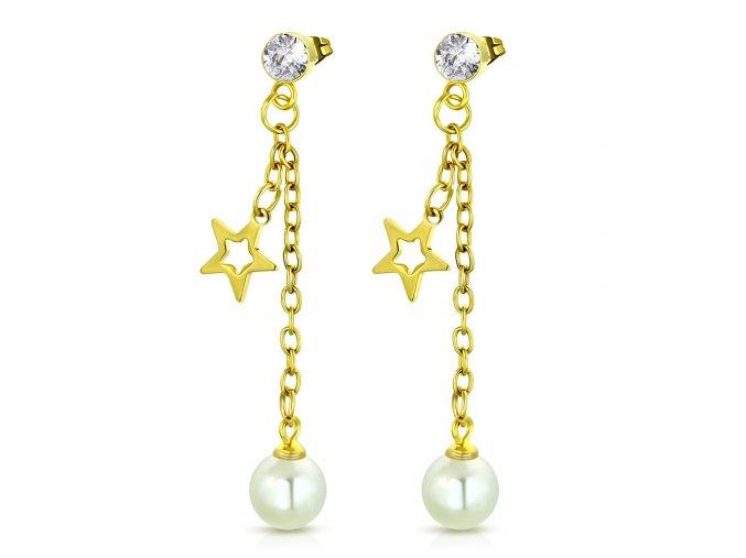 Visiace náušnice so zirkónom, oceľ zlatej farby, hviezda a perla