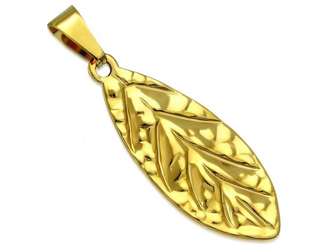 Prívesok na retiazku, list zlatej farby z chirurgickej ocele, gravírovanie (1)