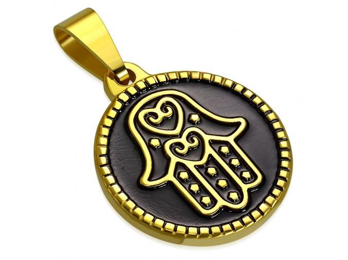 Okrúhly prívesok Hamsa zlatej farby, číre zirkóny, oceľ, čierna glazúra