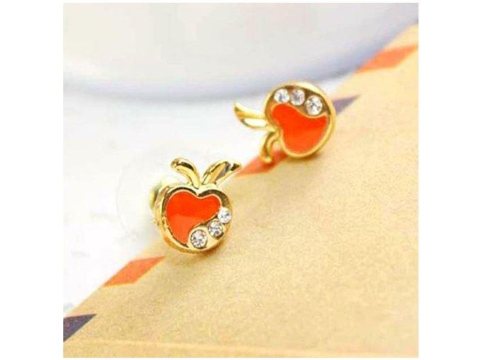 Puzetové náušnice pre ženu, oranžové jabĺčka, zirkón, bižutéria