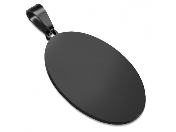 Vojenská hladká oválna známka čiernej farby, chirurgická oceľ 33x20 mm
