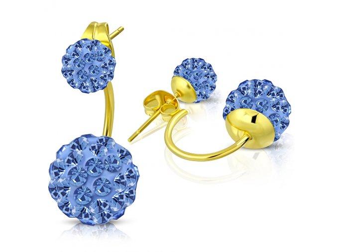 Náušnice z ocele zlatej farby, dve shamballa guličky modrej farby (1)