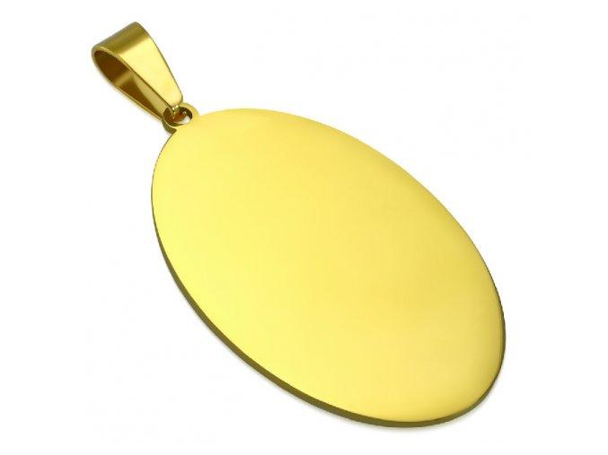 Vojenská hladká oválna známka zlatej farby, chirurgická oceľ 48x30 mm (1)