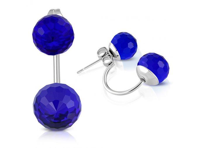 Dámské náušnice z ocele, dve disco guličky kráľovsky modrej farby (1)