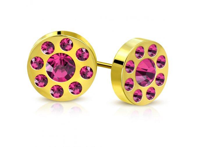 Dámske puzetové náušnice zlatej farby, ružové zirkóny v kruhu, oceľ