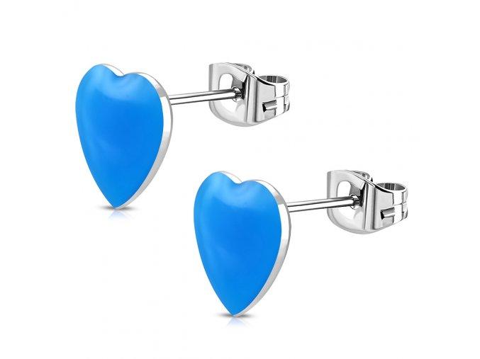 Puzetové náušnice srdce z chirurgickej ocele, blankytná farba