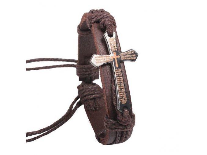 Hnedý kožený náramok s krížom, modlitba - bižutéria